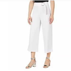 INC Cropped Wide Leg Ankle Pants in White